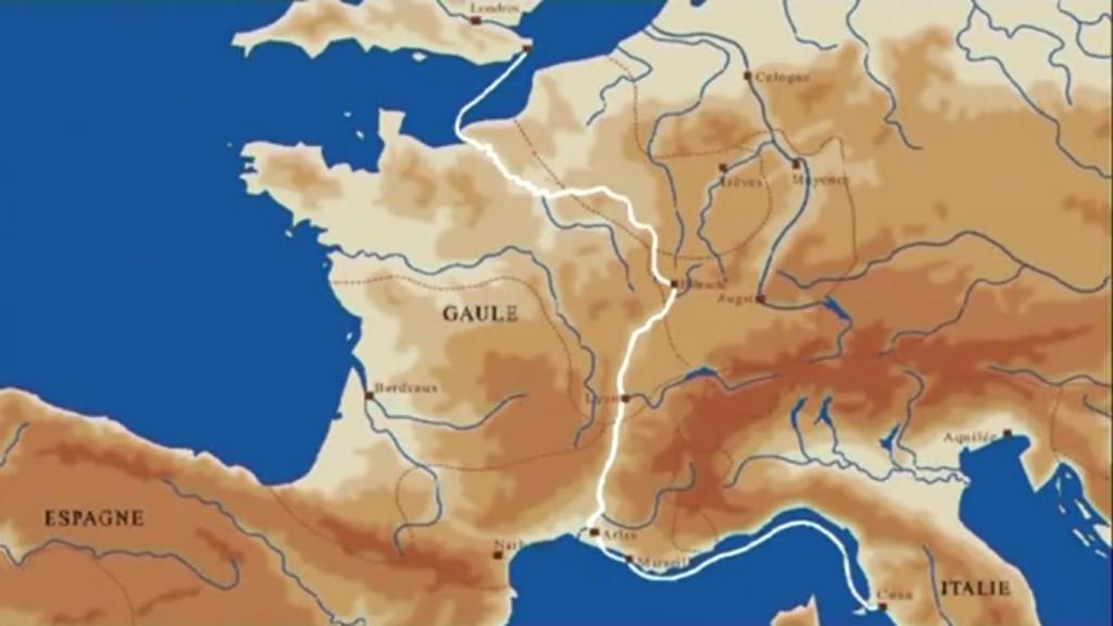 Le circuit du vin romain en Europe passant par la Gaule dans l'Antiquité. (Source: inrap.fr)