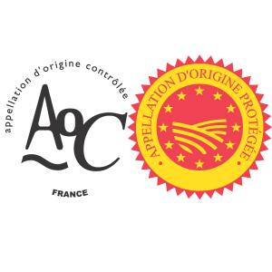 Logos des labels AOC et AOP. INAO.