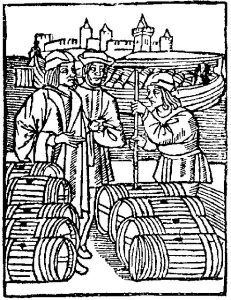 Des marchands de vin dans un port au XVème siècle. (Source : Wikimedia Commons).