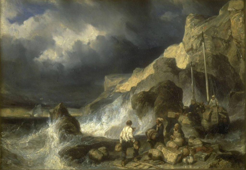 Eugène Isabey, Contrebandiers embarquant des marchandises, Huile sur toile, 1837. Musée de la Chartreuse, Douai.
