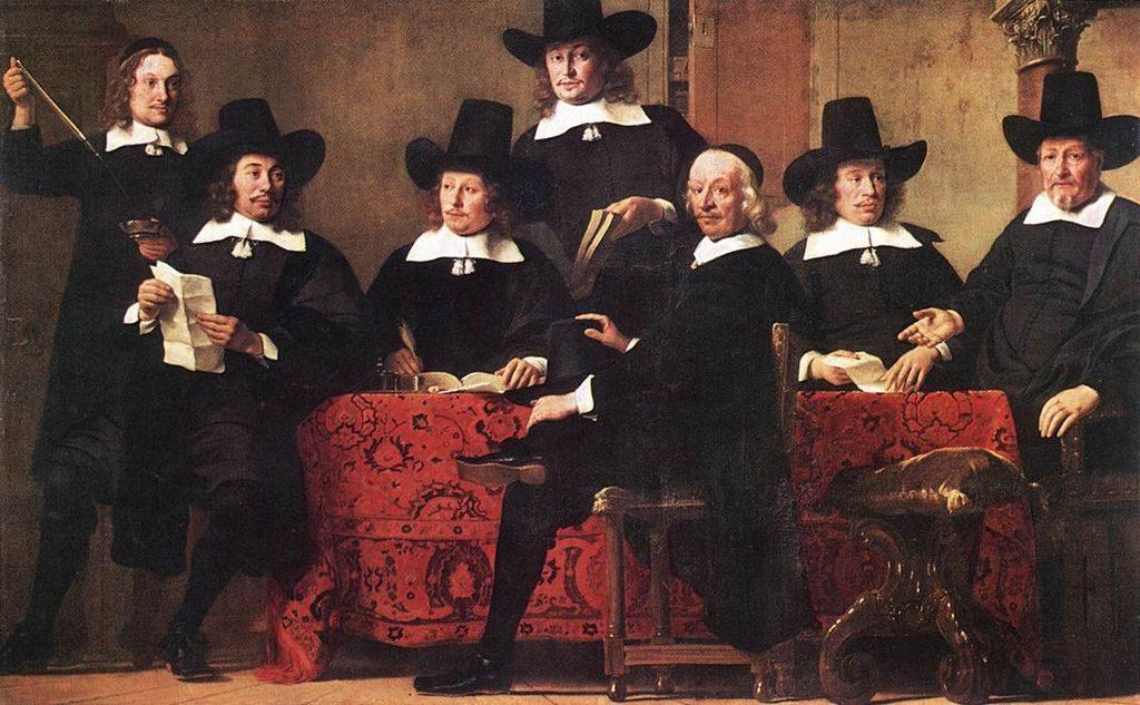 Tableau de Ferdinand Bol, Gouverneurs de la Guilde des négociants en vin d'Amsterdam, 1663